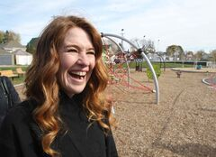 Olympic athlete Clara Hughes all smiles at the unveiling of the Clara Hughes Recreation Park, which is now complete after a $758,500 redevelopment which includes new entry plaza, skate board pod, accessible playground and hockey skills area and much more.