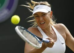 Maria Sharapova of Russia plays a return to Samantha Murray of Britain during their first round match at the All England Lawn Tennis Championships in Wimbledon, London, Tuesday, June 24, 2014. (AP Photo/Pavel Golovkin)