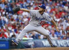 Los Angeles Dodgers starting pitcher Clayton Kershaw throws during the first inning of a baseball game against the Philadelphia Phillies, Friday, May 23, 2014, in Philadelphia. (AP Photo/Matt Slocum)