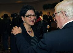 Jenny Gerbasi is congratulated Wednesday night.