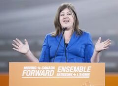 Rebecca Blaikie, President of the NDP, speaks in Toronto on March 23, 2012. THE CANADIAN PRESS/Pawel Dwulit