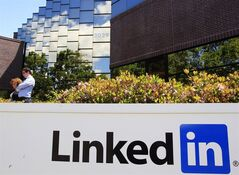 In this Monday, May 9, 2011 photo, LinkedIn Corp., the professional networking Web site, displays its logo outside of headquarters in Mountain View, Calif. THE CANADIAN PRESS/AP, Paul Sakuma