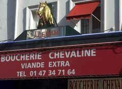 A statue of a horse's head, above a horsemeat butcher shop in Paris, Friday Feb 15, 2013. THE CANADIAN PRESS/AP, Jacques Brinon