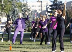 About 40 people participate in a Zumba-thon in Memorial Park, raising funds for the North Point Douglas Women's Centre, Sunday.