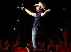 Brad Paisley entertains fans at the MTS Centre Wednesday evening.