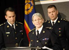 From left: Assistant Commissioner Kevin Brosseau, Deputy Commissioner Janice Armstrong , and Superintendent  Tyler Bates. The RCMP released its National Operational Review on Missing and Murdered Aboriginal Women, identifying 1,181 aboriginal women across Canada since 1980.