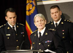 RCMP Assistant Commissioner Kevin Brosseau, from left, Deputy Commissioner Janice Armstrong and Supt. Tyler Bates discuss the ramifications of the RCMP's report that found aboriginal women and girls are more likely to be victims of murder.