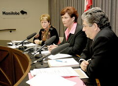 Deputy Health Minister Arlene Wilgosh (from left), Health Minister Theresa Oswald and Dr. Joel Kettner announce launch of H1N1 vaccinations Wednesday.
