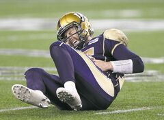 Blue Bombers starting QB Max Hall goes down in pain after absorbing a huge hit in the fourth quarter on Friday night. He left the game and did not return.