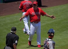 Los Angeles Angels manager Mike Scioscia (14) discusses a call with home plate umpire Larry Vanover, left, as Houston Astros catcher Carlos Corporan looks on after Angels' John McDonald (8) was tagged out while running to first during the third inning of a baseball game on Sunday, July 6, 2014, in Anaheim, Calif. (AP Photo/Mark J. Terrill)