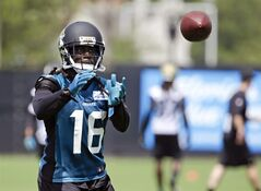 Jacksonville Jaguars running back Denard Robinson (16) catches a pass during an NFL football minicamp in Jacksonville, Fla., Tuesday, June 17, 2014. (AP Photo/John Raoux)
