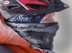 A cyclist braves the extreme cold on Notre Dame Avenue this morning. Environment Canada has issued a wind-chill warning with values of  -40 to -45 expected to persist through the day in Winnipeg.