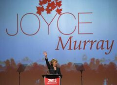 Liberal leadership candidate Joyce Murray speaks during the 2013 Liberal Leadership National Showcase in Toronto on Saturday. Murray is viewed as Justin Trudeau's only real challenger in the campaign to lead the Liberal party.