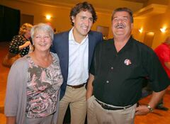 Justin Trudeau and Rick Borotsik share a laugh