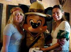 Beverley and Ashley at Disney World with Minnie Mouse.