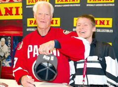 Unlike superstar Alex Ovechkin, Gordie Howe showed up for the all-star game. Mr. Hockey even gave an elbow to fan Bradley Galbraith during an autograph session  in Ottawa.