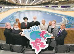 Religious leaders, including Archbishop of Canterbury Rowan Williams (centre), visit the London 2012 Velodrome to celebrate diversity and inclusion at the Olympic Games.