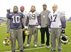 MIKE DEAL / WINNIPEG FREE PRESS From left: Henoc Muamba, Chris Matthews, Glenn January, Alex Hall and Justin Palardy join Chad Simpson (not pictured) as the Bombers' award nominees for 2012.