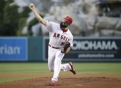 Los Angeles Angels starting pitcher Matt Shoemaker throws against the Los Angeles Dodgers during the first inning of a baseball game Wednesday, Aug. 6, 2014, in Anaheim, Calif. (AP Photo/Jae C. Hong)