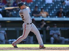 San Francisco Giants' Juan Perez follows the flight of his fly-out against the Colorado Rockies to end the ninth inning of a baseball game in Denver, Wednesday, Sept. 3, 2014. The Rockies won 9-2. (AP Photo/David Zalubowski)