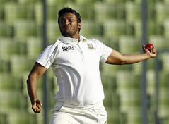FILE - This is a Wednesday, Jan. 29, 2014 file photo of Bangladeshi cricket player Shakib Al Hasan as he bowls on the third day of the first test cricket match against Sri Lanka in Dhaka, Bangladesh. The Bangladesh Cricket Board has on Monday July 7, 2014 suspended all-rounder Shakib Al Hasan from all competitions for six months and forbidden him from playing overseas until the end of 2015 due to his