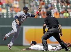 Cleveland Indians second baseman Mike Aviles, left, tries but cannot hold onto a wide throw as Baltimore Orioles' David Lough steals second base in the fourth inning of a baseball game on Sunday, May 25, 2014, in Baltimore. (AP Photo/Patrick Semansky)