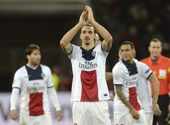 PSG's Zlatan Ibrahimovic applauds after a Champions League round of the last 16 first leg soccer match between Bayer Leverkusen and Paris Saint-Germain in Leverkusen, Germany, Tuesday Feb. 18, 2014. (AP Photo/Martin Meissner)
