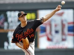Baltimore Orioles starting pitcher Wei-Yin Chen (16) delivers to the Minnesota Twins during the first inning of a baseball game in Minneapolis, Saturday, May 3, 2014. (AP Photo/Ann Heisenfelt)