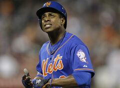 New York Mets' Curtis Granderson reacts after being thrown out at first base to end a baseball game against the San Francisco Giants on Friday, Aug. 1, 2014, in New York. The Gaints won 5-1. (AP Photo/Frank Franklin II)