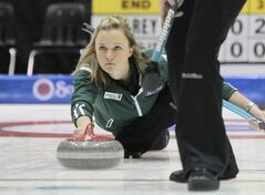Skip Chelsea Carey throws a rock during the Friday afternoon draw in the Scotties Tournament of Hearts at the Portage la Prairie PCU Centre.