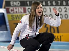 Canada's skip Rachel Homan directs the sweep against Italy at the world women's curling championship in Riga, Latvia on Tuesday, March 19, 2013. Canada won 7-6. THE CANADIAN PRESS/Andrew Vaughan
