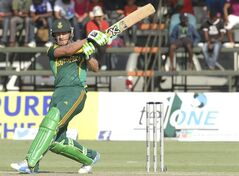 South African batsman AB de Villiers plays a shot during the cricket One Day International match against Australia in Harare Zimbabwe Wednesday, Aug. 27, 2014. The two teams are in Zimbabwe for a triangular ODI series with Zimbabwe. (AP Photo/Tsvangirayi Mukwazhi)