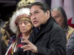 Athabasca Chipewyan First Nation Chief Allan Adam speaks on March 20, 2013 in Ottawa. THE CANADIAN PRESS/Adrian Wyld