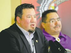 When asked about growing evacuee numbers, Grand Chief Derek Nepinak, left, suggests evacuees affected by previous floods are coming forward now.