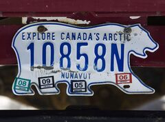 A Nunavut licence plate is shown in Iqaluit in Nunavut on Sunday, March 29, 2009. THE CANADIAN PRESS/Nathan Denette