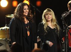 "FILE - In this Jan. 29, 2013 file photo, Hillary Scott of Lady Antebellum, left, performs with Stevie Nicks at the taping of ""CMT Crossroads"" at Sony Studios in Culver City, Calif. The episode with Scott and Nicks airs on Friday, Sept. 13, 2013. (Photo by John Shearer/Invision/AP, File)"