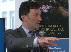 NDP Foreign Affairs critic Paul Dewar speaks at the Free Press News Café Friday.