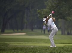 Bubba Watson hits his tee shot on the 15th hole during a practice round for the PGA Championship golf tournament at Valhalla Golf Club on Tuesday, Aug. 5, 2014, in Louisville, Ky. The tournament is set to begin on Thursday. (AP Photo/David J. Phillip)