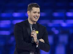 Canadian singer and host of the 2013 Juno Awards Michael Buble speaks to the media before the 2013 Juno Awards in Regina on Saturday, April 20, 2013. THE CANADIAN PRESS/Nathan Denette