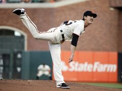 San Francisco Giants starting pitcher Tim Lincecum throws to the Atlanta Braves during the first inning of a baseball game on Monday, May 12, 2014, in San Francisco. (AP Photo/Marcio Jose Sanchez)
