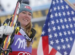 FILE PHOTO - In this Sunday, Jan. 5, 2013 file photo, Mikaela Shiffrin of the U.S celebrates after winning an alpine ski, women's World Cup slalom, in Bormio, Italy. American teenager Mikaela Shiffrin can retain her World Cup slalom title on Sunday and become the first skier to secure a crystal globe this winter. Shiffrin can do it by extending her 144-point lead in the discipline standings to more than 200 points. Winning the discipline title with two slaloms in March to spare would cement her status as the Olympic gold favorite, though carrying the weight of expectations doesn't seem to bother her. (AP Photo/Marco Trovati, file)