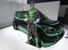 The Green Lantern-wrapped Kia Soul is on display at the North American International Auto Show in Detroit, Tuesday, Jan. 15, 2013. The Batman-decorated Kia Optima and the Green Lantern-wrapped Kia Soul are at the South Korean automaker's exhibit to promote an effort to fight hunger in Africa. Features include the Green Lantern's symbol on the Soul's wheels. The vehicles were created as part of a partnership involving DC Entertainment. The