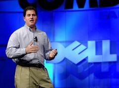 FILE - In this Monday, Nov. 13, 2000 photo, Michael Dell, Chairman and CEO of Dell, speaks during his keynote address at Comdex, in Las Vegas. Dell is trying to reassure shareholders about its proposed $24.4 billion acquisition by a group led by its founder, saying it considered a number of strategic options before agreeing to the deal and felt the bid is in the best interest of stockholders. (AP Photo/Mark J. Terrill, FIle)