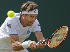 David Ferrer of Spain plays a return to Andrey Kuznetsov of Russia during their men's singles match at the All England Lawn Tennis Championships in Wimbledon, London, Wednesday, June 25, 2014. (AP Photo/Pavel Golovkin)