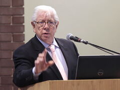 Pulitzer Prize-winning journalist Carl Bernstein offers words of wisdom during the Holding Power to Account Conference at the University of Winnipeg on Friday.