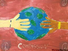 A painting by Sophie George, a student at St. John Brebeuf School. It will be part of the Art of Compassion exhibit.