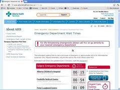 Screengrab shows wait times for Alberta Health Services. Being forced to wait seemingly endlessly in a dingy, germ-infested walk-in clinic or hospital waiting room can be a thing of the past.For some lucky Canadians, at least. It's still far from commonplace, but some hospitals and clinics are now offering web and mobile tools to let patients know what kind of queue they'd face in a waiting room. THE CANADIAN PRESS/HO
