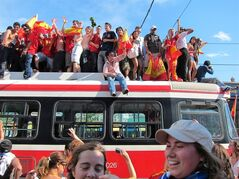 Spanish fans climb on top of a streetcar in Toronto on July 11, 2010 following Spain's victory over the Netherlands in the World Cup final. Canada, of course, isn't in the 2014 FIFA World Cup which kicks off Thursday in Brazil. Canada has made just one World Cup appearance, in 1986 in Mexico City. But that hasn't stopped Canadian soccer fans from gearing up for the sport's biggest party, which runs for five weeks culminating in the final on July 13 - especially in Toronto, one of the world's most multicultural cities. Statistics Canada reported in 2011 that 48.6 per cent of Toronto residents are foreign-born. THE CANADIAN PRESS/Patrick Dell