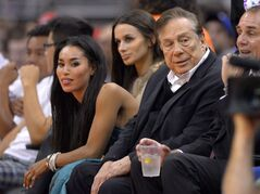 Los Angeles Clippers owner Donald Sterling, right, watches the Clippers courtside in Los Angeles on Oct. 25, 2013. THE CANADIAN PRESS/AP, Mark J. Terrill