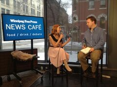 Miss La Muse chats with Geoff Kirbyson at the Winnipeg Free Press News Café Thursday.